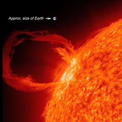 """כדה""""א בהשוואה להתפרצות סולרית בשמש"""